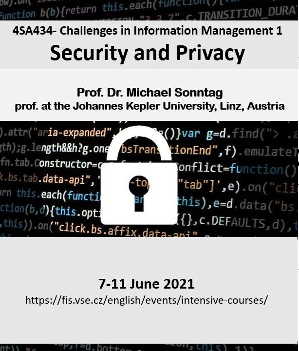 Mimosemestrální kurz 4SA434 – Challenges in Information Management – Security and Privacy